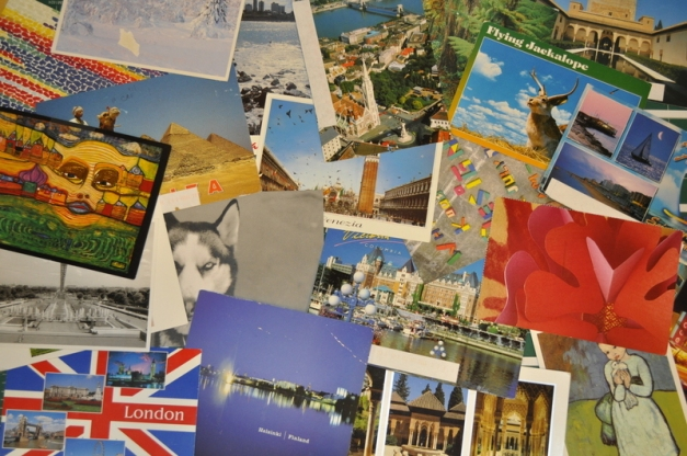 postcards displayed