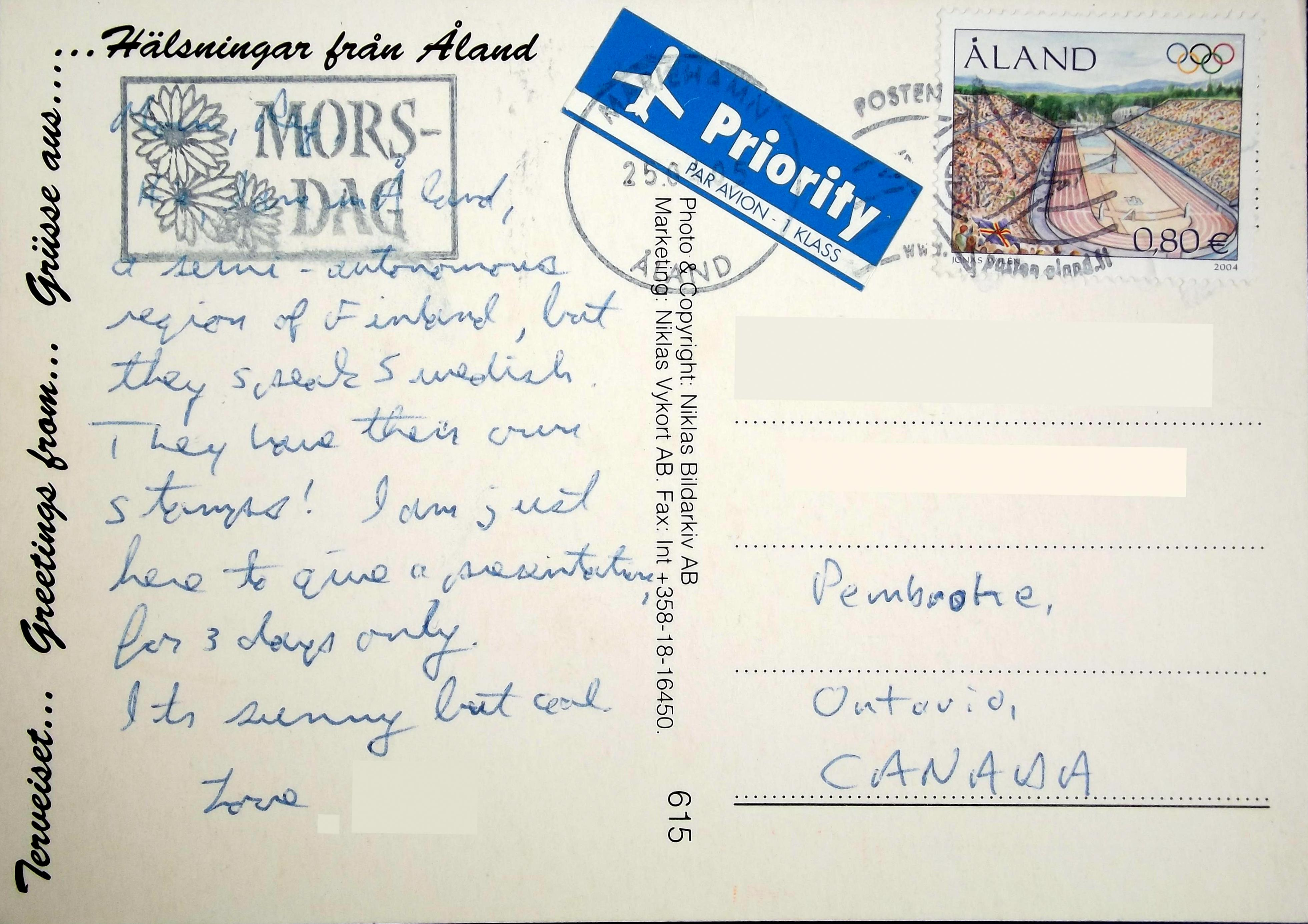 Scandinavia the deltiology deity greetings from aland back of postcard m4hsunfo