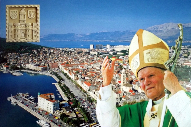 The pope is superimposed over an aerial shot of Crotia