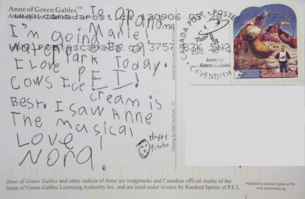 Message text: To Grandma:I'm going to a water park today. I love P.E.I. Cows ice cream is the best. I saw Anne the Musical. Love Nora
