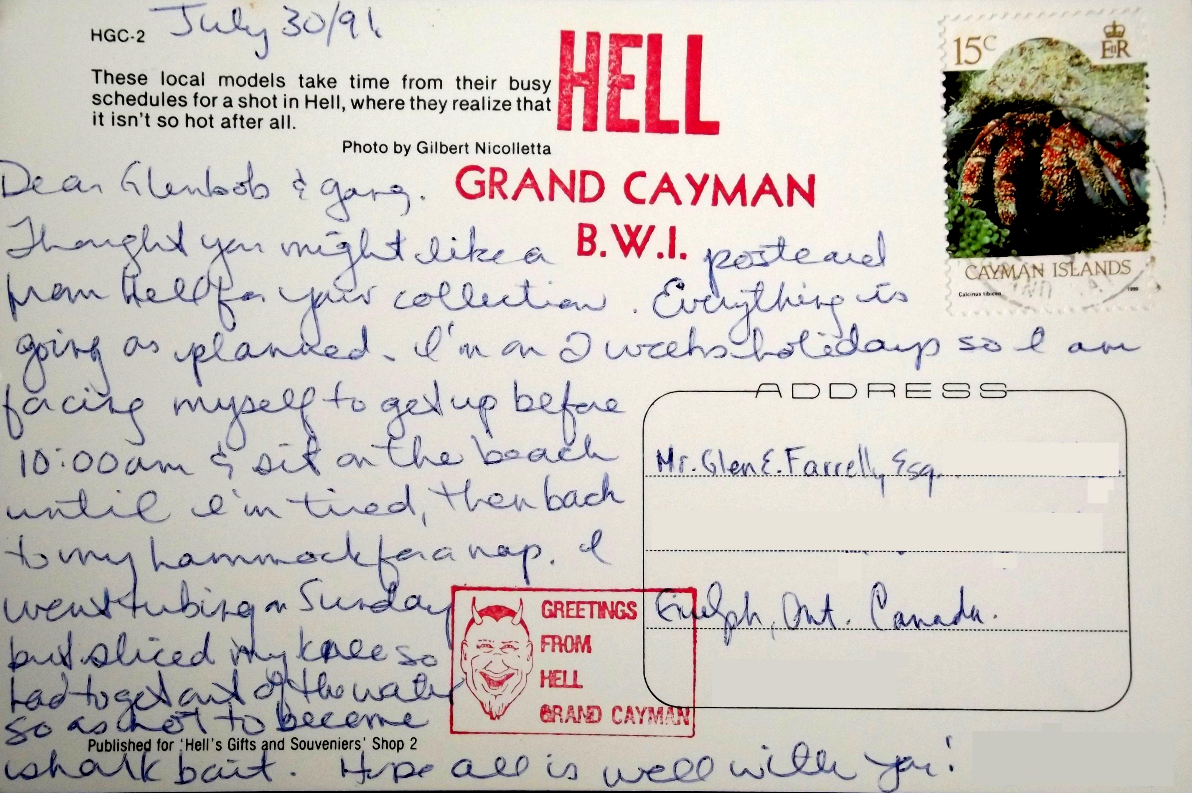 Greetings from hell the deltiology deity reverse side of postcard message text m4hsunfo