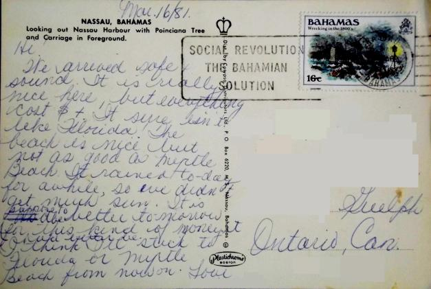 Bahamas postcard reverse side