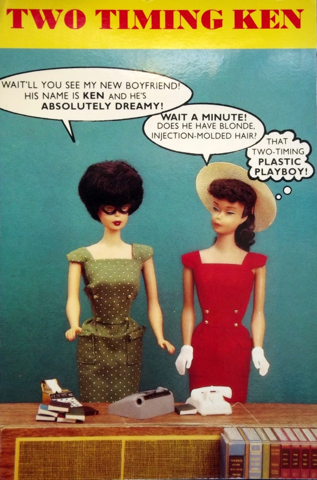 Two barbie dolls discuss their boyfriends and realize it is the same doll - Ken