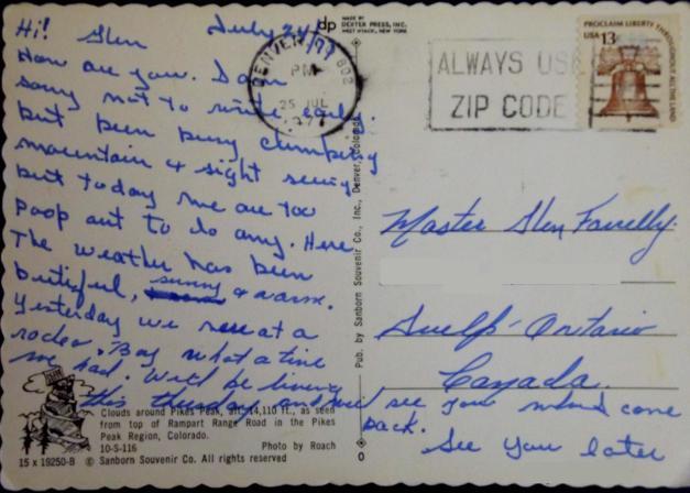reverse side of postcard