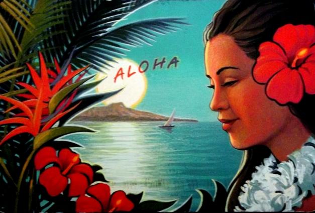 graphic postcard of a Hawaiian woman and ocean panorama