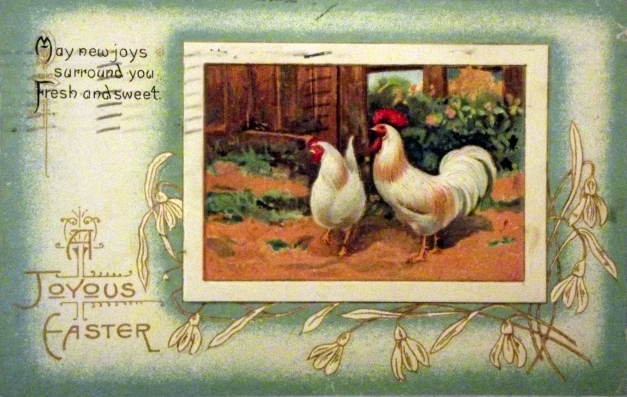Picture of two chickens with a Happy Easter message
