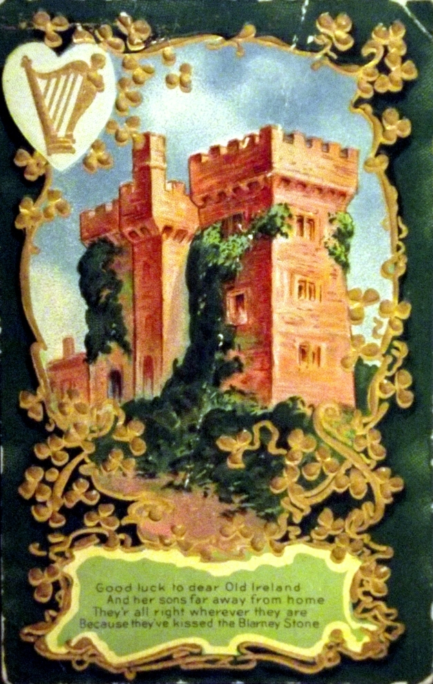 Graphic of a castle surrounded by clover