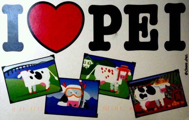 Postcard that says I love P.E.I. and has graphics of cows