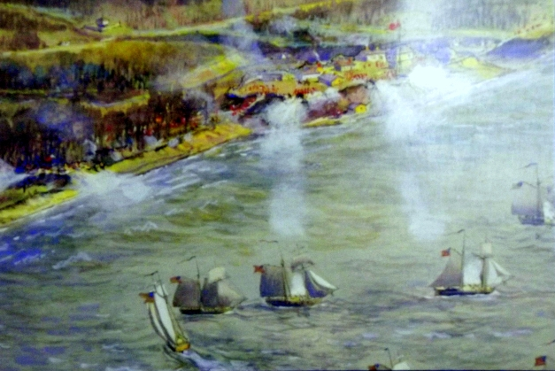 A postcard of an old painting of a ships attacking Toronto