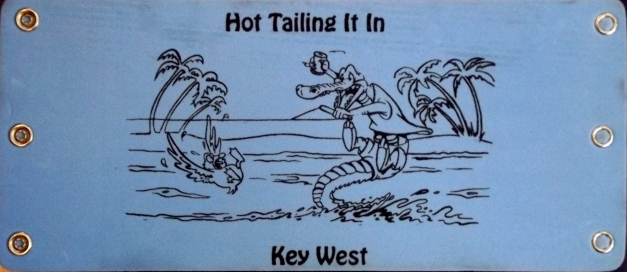 "Postcard with a alligator that says ""Hot Tailing it in Key West"""