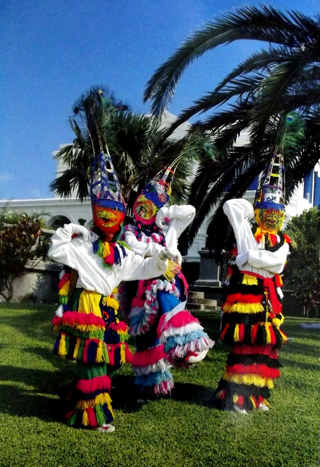 Colourfully attired Bermudian dancers
