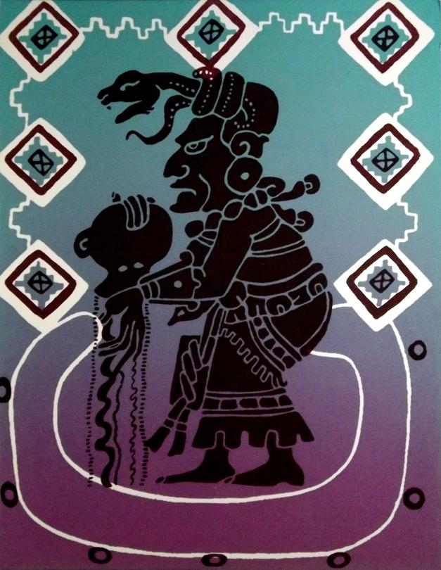 A Mayan figure of a goddess holds an urn