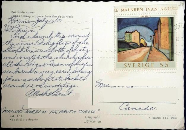 Reverse side of postcard