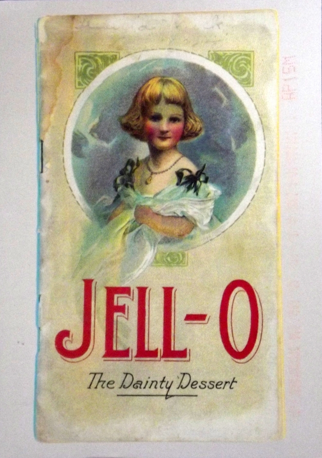 Old-fashioned image of a girl with Jell-O written underneath
