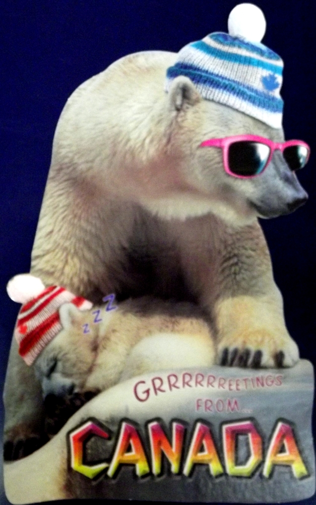 Polar bear mother and baby with Canada written on bottom