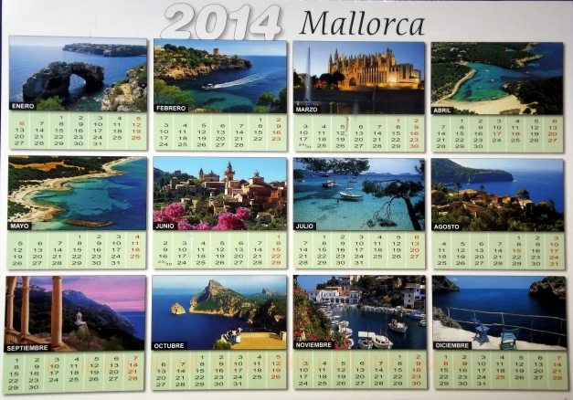 A mini-calendar with twelve images of Mallorca per month