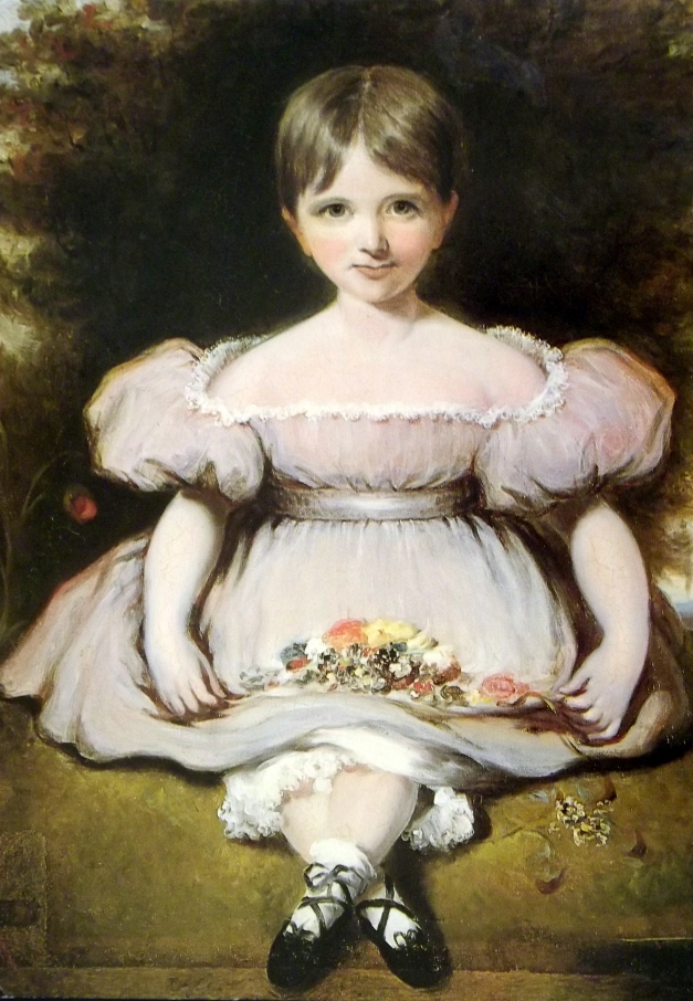 An oil painting of a girl with an abnormally wide body