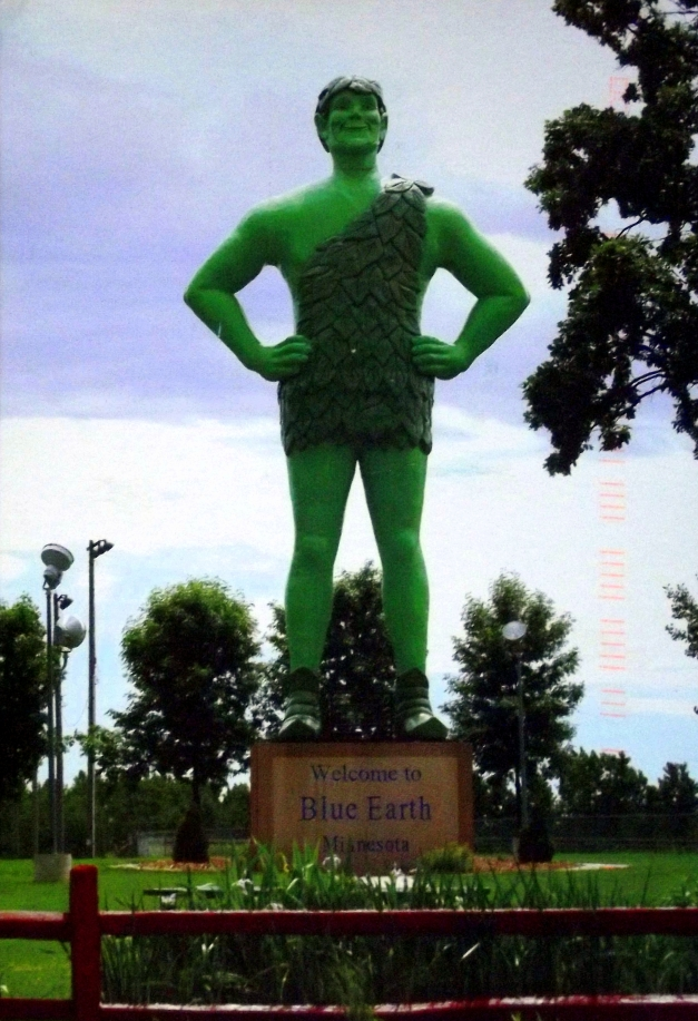 A  giant statue of vegetable spokesman, the Green Giant