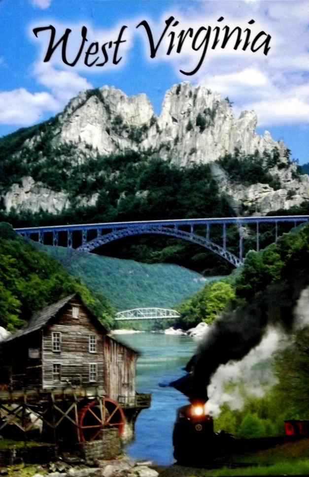 ollage of a mountain, steel bridge, and a shack