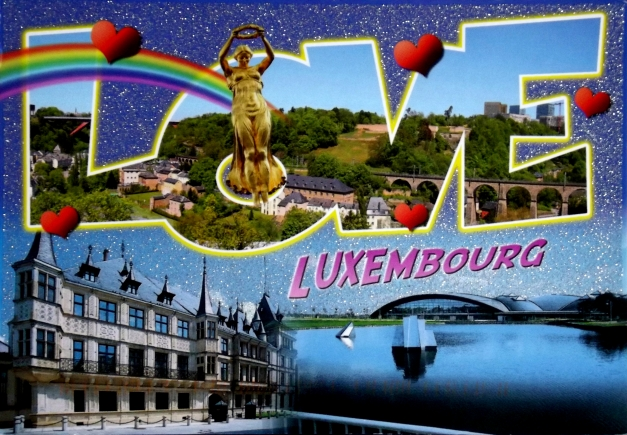 The word Love is overlaid on a castle of Luxembourg