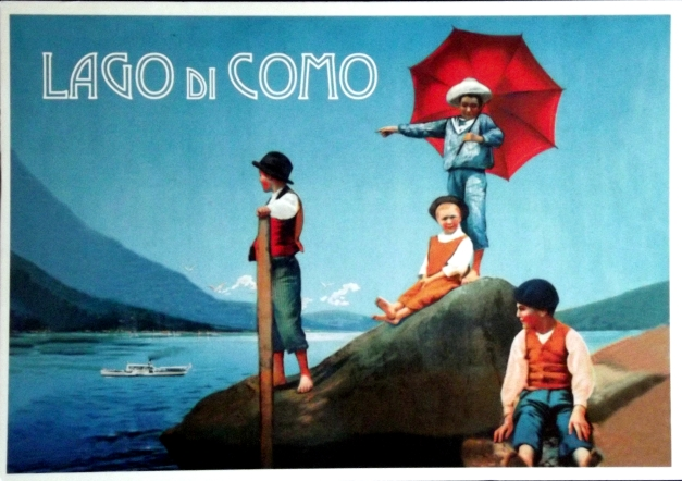 Old-fashioned illustration of children by Lake Como