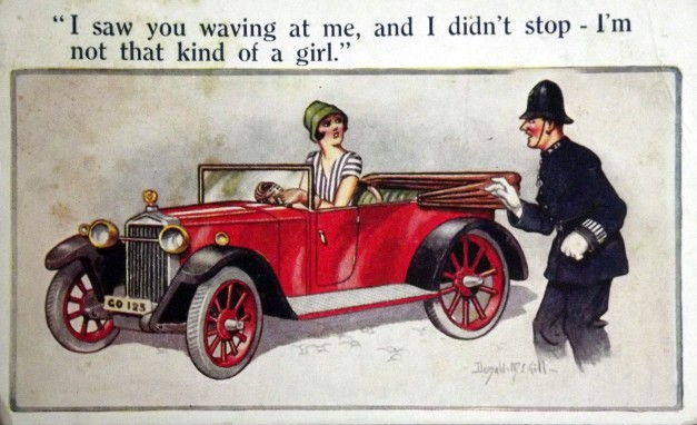 A policeman stops a woman driving. With the caption