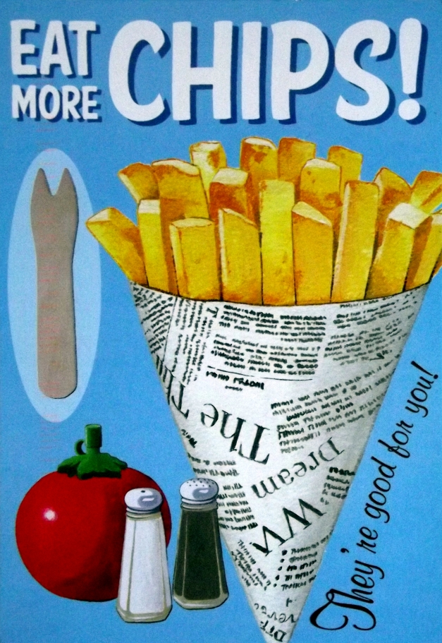 "An image of a cone of chips, with salt & pepper and the caption ""Eat More Chips"""