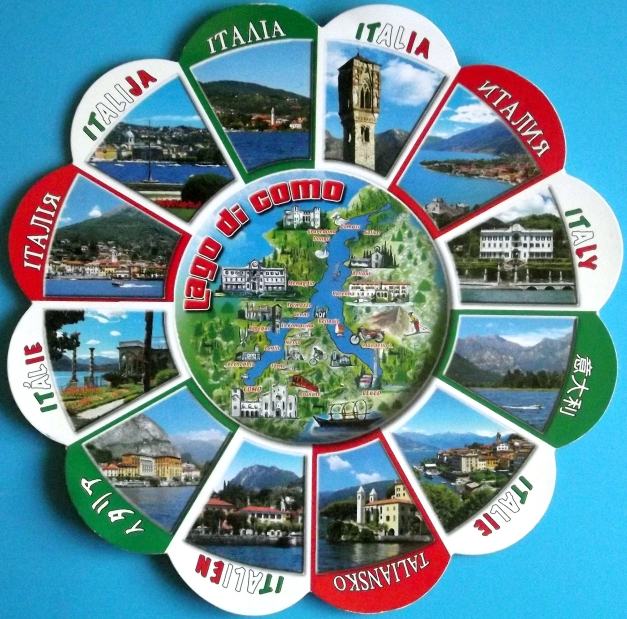 A rosetta shaped postcard with each petal a image of Lake Como, Italy