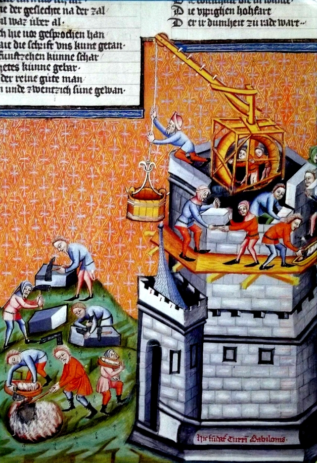 An old artwork showing peasants labouring miserably in building a castle