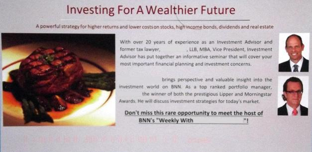 Invitation for wealthy people to attend a luncheon seminar