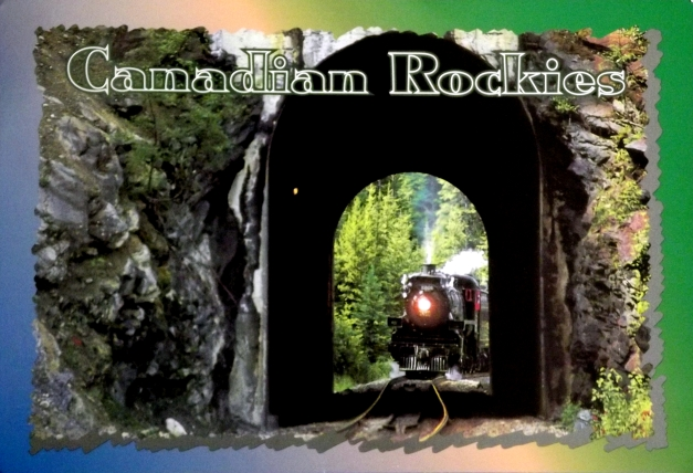 A train enters a mountain tunnel with the caption overhead of Canadian Rockies