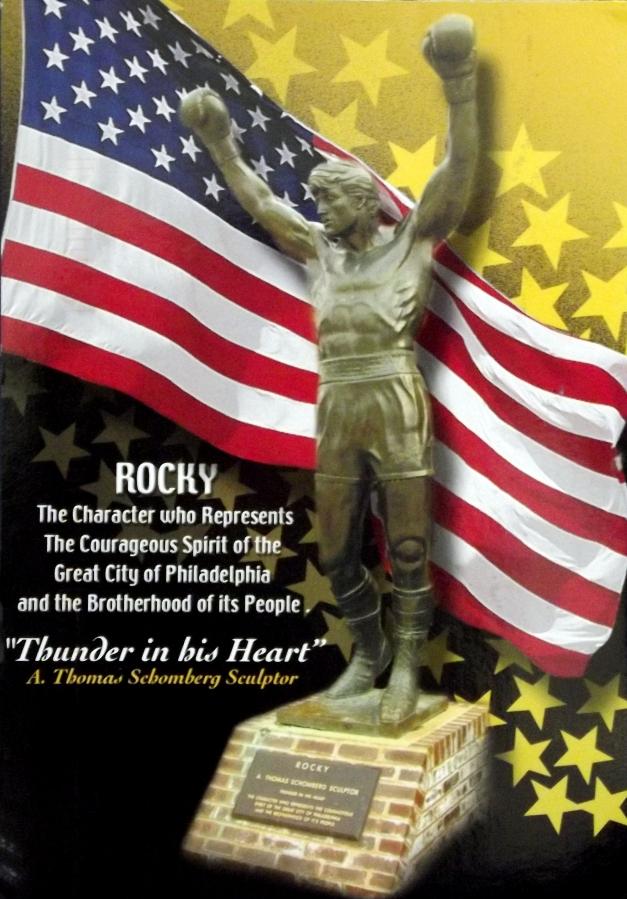 A statue of Sylvester Stallon