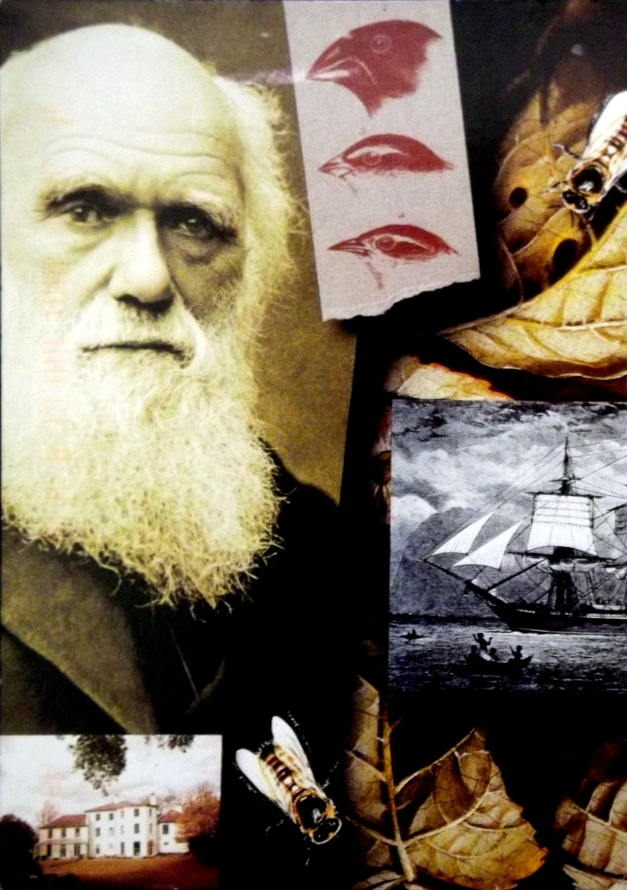 Photo of Charles Darwin, his house, and the boat he travelled on