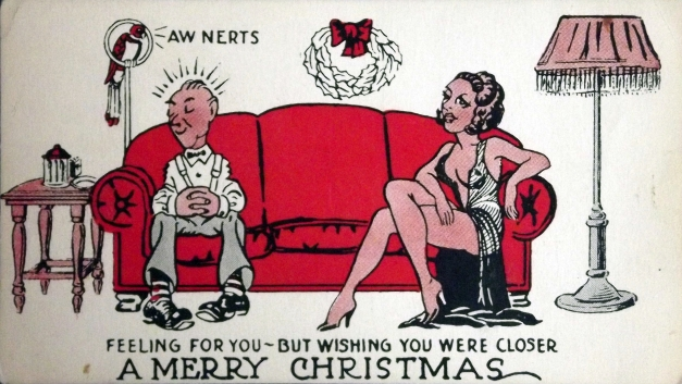 "A man and woman sit on opposite ends of the coach with the caption: ""Feeling for you - but wishing you were closer. A Merry Christmas"""