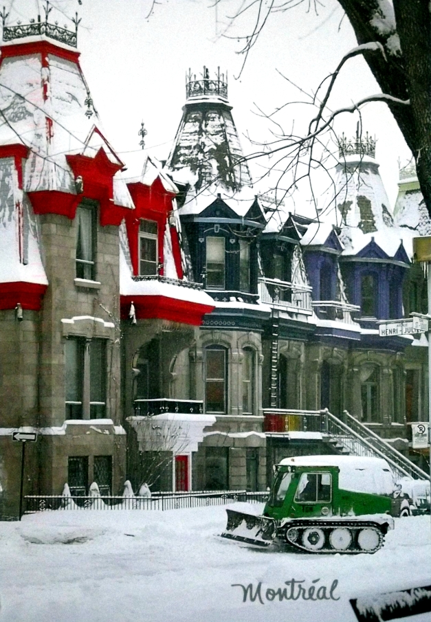 Snow covers old buildings and the street