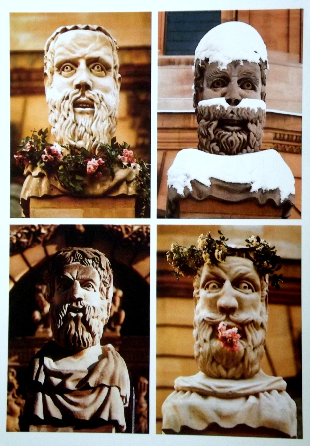 Four images of a sculpture of an old man show the 4 seasons