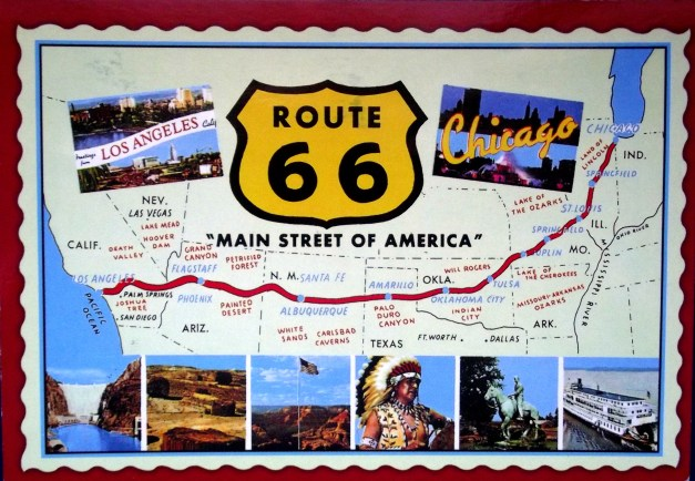 A map of Route66 with postcard images of the sites along the route