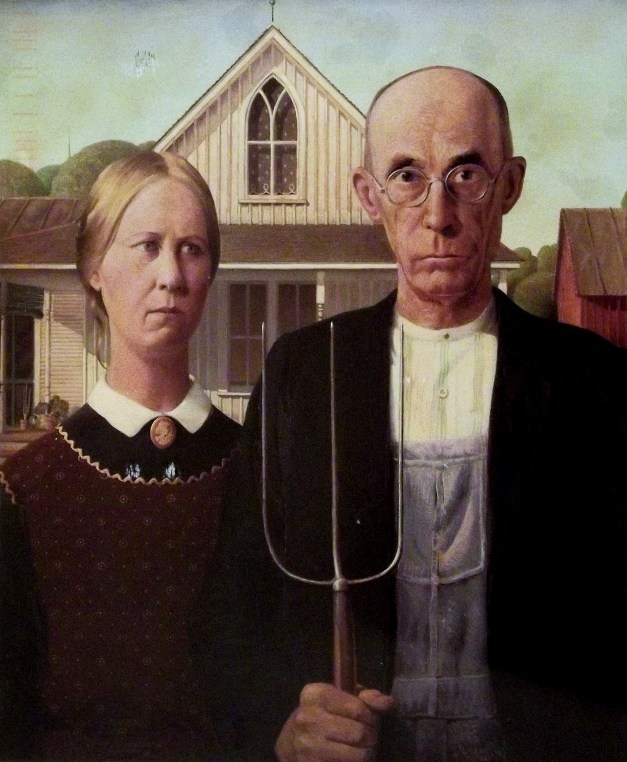 "Image of the painting ""American Gothic"" of a grim-faced farmer and his daughter"