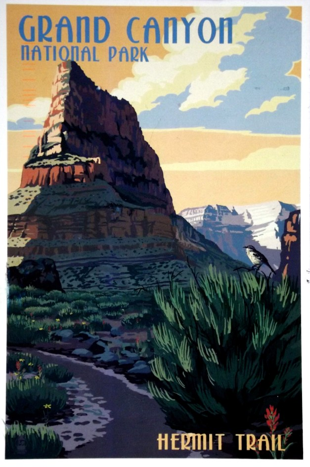 Old-fashioned style drawing of Grand Canyon