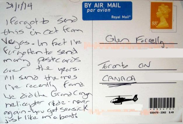Back side of postcard
