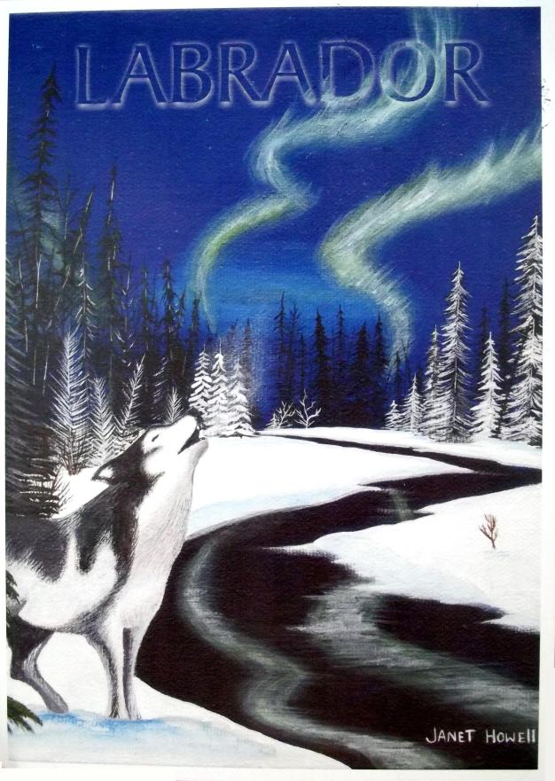 A wolf howls in a winter forest