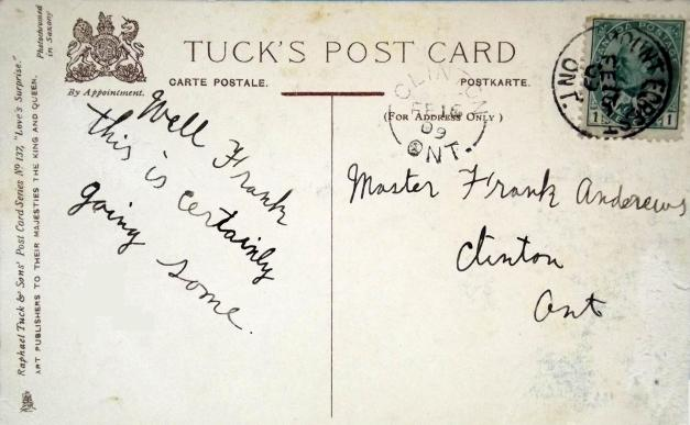 Back side of postcard