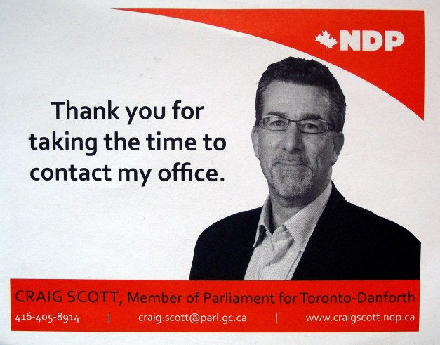"Image of member of parliament with a caption that says ""Thank you for taking the time to contact my office"""