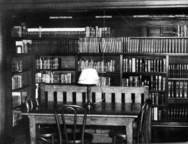 Photo of a library study desk circa 1947