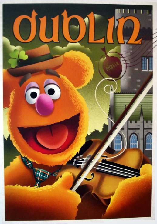 Fozzie playing a fiddle with a caption of Dublin