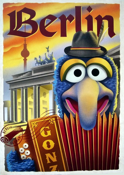 Gonzo playing and accordion with a caption of Berlin