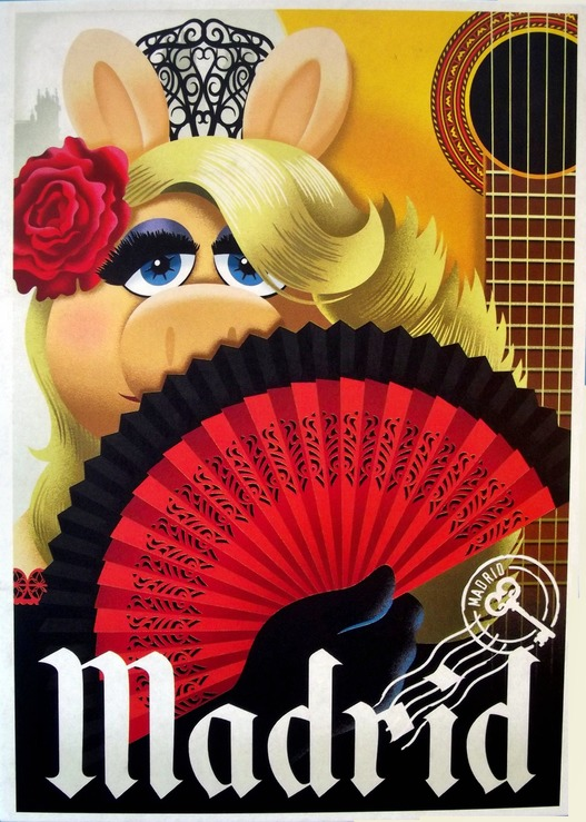 Miss Piggy with a caption of Madrid