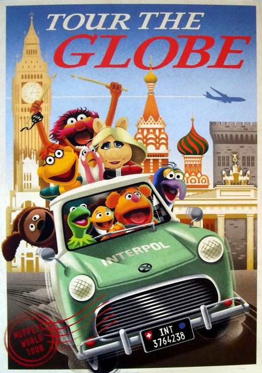 The Muppets in an Interpol car