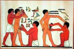 Ancient Egyptian illustration of men being circumcised