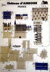 Parts of a French castle are displayed seperately to cut out